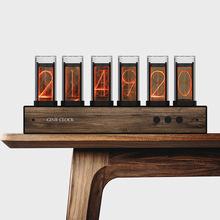 Pixie światło jarzeniowe zegar analogowy zegar Retro LED zmienia kolor zegara wysokiej jakości super jasny zegar cyfrowy glow Tube F19252 tanie tanio Zegary biurkowe Luminova DIGITAL circular glow tube clock Bambusowe i drewniane