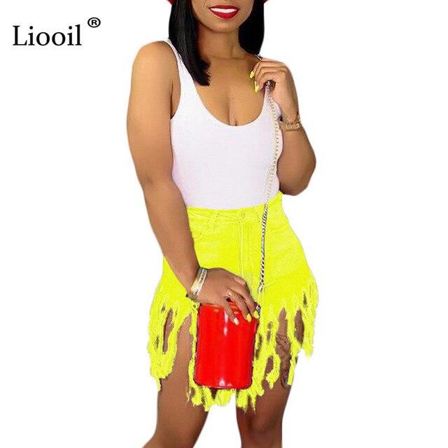 Liooil Neon Tassel Jeans Shorts Women 2021 Summer Elastic High Waist Cotton Jean Short Plus Size Sexy Denim Shorts Sexy Club 5