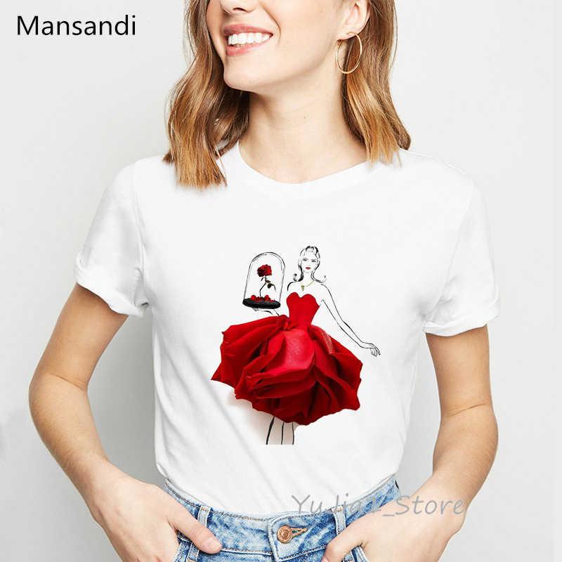 Illustrazione di Fiori Rosa Rossa Pannello Esterno Della Stampa T-Shirt Vestiti Delle Donne 2019 di Moda T Shirt Femme Harajuku Camicia Summmer Parti Superiori Della Maglietta
