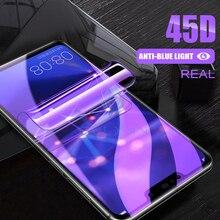 Защитная пленка 45D с полным покрытием экрана для Huawei P30 P40 Pro, Гидрогелевая пленка для Honor 20, 30 S, 9X, 10, 19 Lite, с защитой от синего света