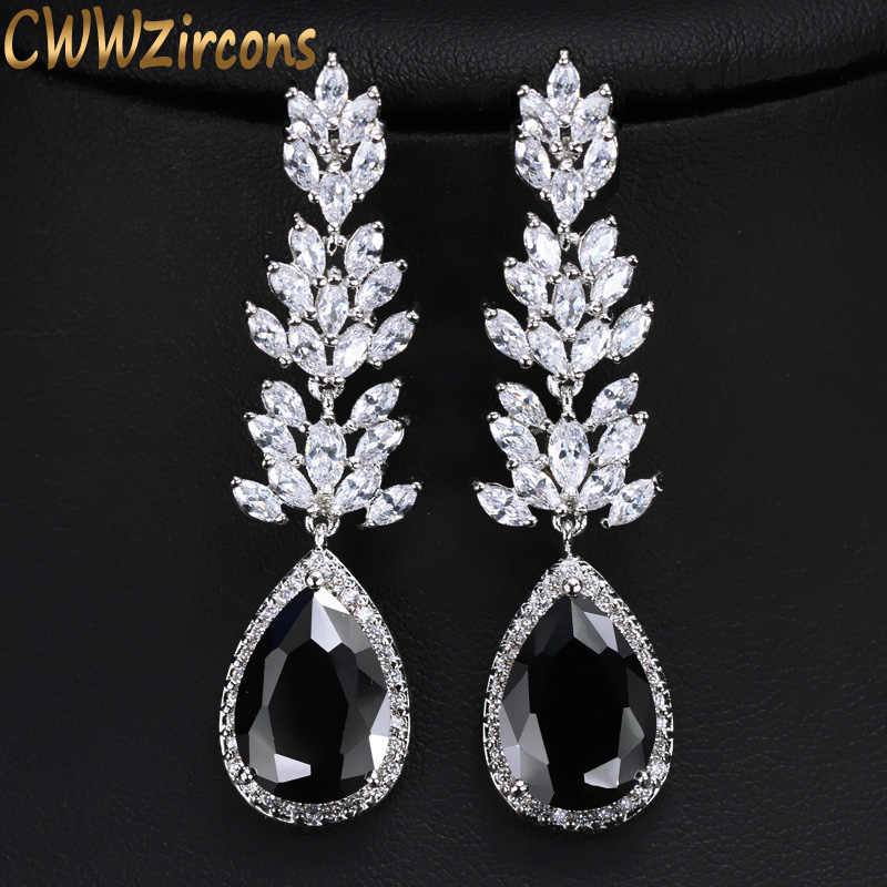 CWWZircons Brand High Quality Silver Color Long Black Crystal Drop Earring Fashion Cubic Zirconia Women Jewelry CZ382