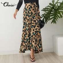 Maxi Skirts Leopard Print Women's Asymmetrical Split High-Waist Bohemian Celmia Loose