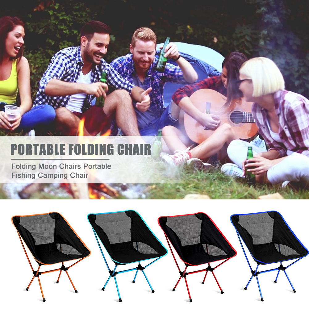 New Camping Folding Moon Chairs Aluminum Alloy Outdoor Fishing Beaches Picnic Backrest Seat Camping Portable Outdoor Rest Chair
