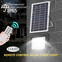 24/64/112LED Solar Flood Light Waterproof Garden Street Lamp w/Remote Control Outdoor Solar Garden Floodlight Remote Control