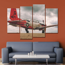 AAHH Big Size Home Decor Dordic Red Fighter Picture 4 Panel Canvas Painting Print on Wall Art Pictures With Frame