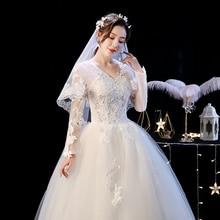 2019 New Long Sleeves Appliques Bridel Ball Gown Lace Up Pattern Customer Custom Size Wedding Dress Vestido De Novia