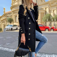 Faux Wolle Blends Frauen Lange Mäntel Graben Kerbe Kragen Zweireiher Vintage Elegante Dame Plus Größe Jacken Winter Oberbekleidung