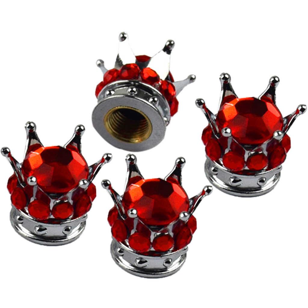 Válvula de aire de cilindro con vástago para neumático brillante corona plateada diamante brillante de 4 piezas
