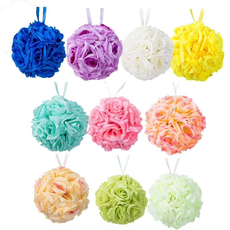Artificial Silk Flower Colorful Ball Rose Bridal Bouquet Kissing Ball Bouquet