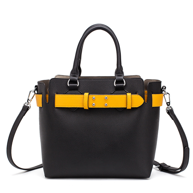 MIYACO Bolso de mano de piel suave para mujer, bolsos de calidad con asa, informales, con cinturón