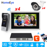 WiFi IP Video Door Phone Video Intercom 10''Touch Screen Security Access Control System Mobile App Remote Unlock POE 4 IP Camera