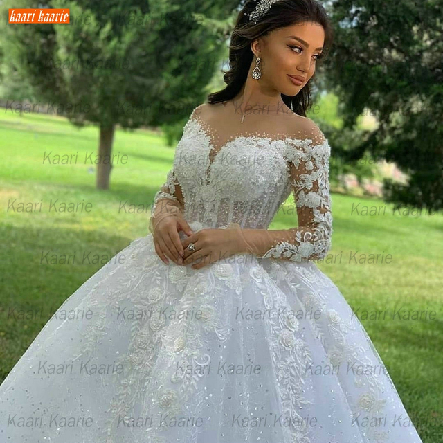 Ball Gown Wedding Dresses O Neck Long Sleeves Vestido Casamento Lace Up Appliqus Beaded Bride Gowns 2021 Suknie Slubne Princess 2