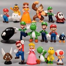 18 Pçs/lote Super Mario Bros PVC Figuras de Ação Brinquedos Yoshi Princesa Peach Luigi Shy Guy Odyssey Donkey Kong Modelo Bonecas Dos Desenhos Animados