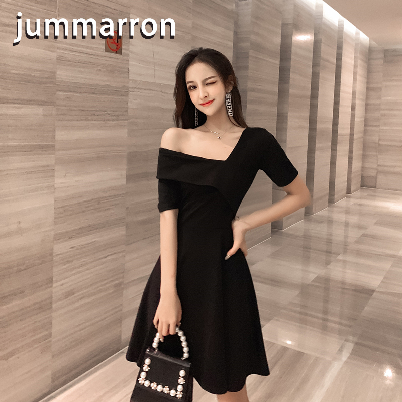 jummarron 2020 Spring/Summer women's <font><b>dress</b></font> off-the-shoulder elegant small fragrance sexy V-neck vintage hepburn black <font><b>dresses</b></font> image