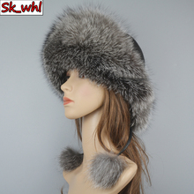 Bomber-Hats Hat Women Russian Real-Fox-Fur Winter 100%Natural Hot New-Style Quality Genuine