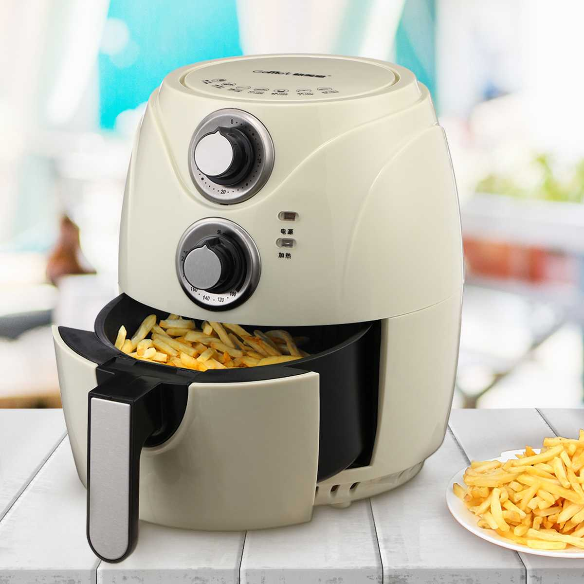 1200W 2.6L Oil Free Air Fryer Pizza French Fries Health Fryer Cooker Multi Function Timing Temperature Adjustable Airfryer 220V