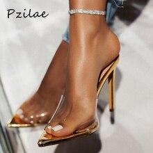 Pzilae Женские туфли на высоком каблуке модный, из ПВХ, прозрачный женские шлепанцы; летняя обувь для женщин, с острым носком, открытые вечерние женские босоножки с открытой пяткой