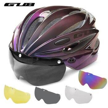 Gub k80 capacete de bicicleta com viseira óculos magnéticos mtb estrada bicicleta ciclismo capacete de segurança integralmente-moldado 58-62cm para homem feminino 1