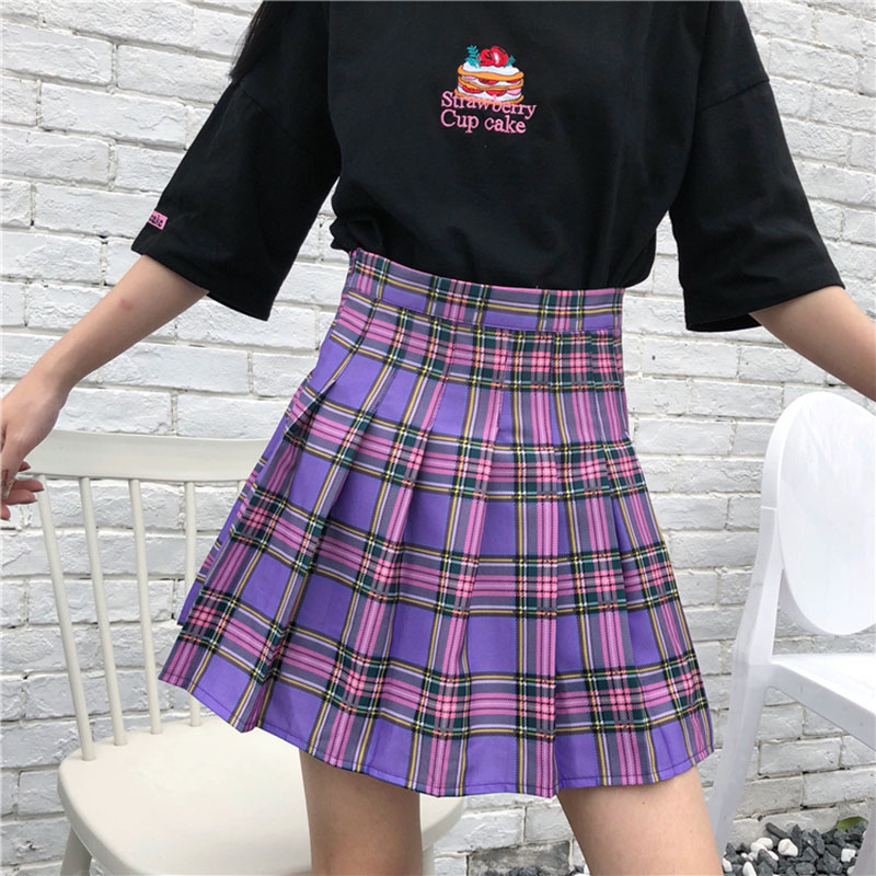 S 2XL New School Skirts Harajuku Purple Plaid High Waist Pleated Skirt Female Cute Mini Women Skirt Preppy Style Summer Skirt