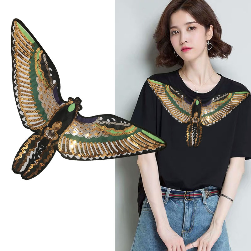 Super-large Fashion Sticker Sequins Embroidery Patch Eagle Sequins Pattern Patches Garment Collar Accessories