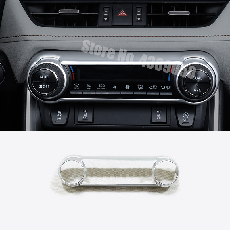 For Toyota RAV4 <font><b>RAV</b></font> <font><b>4</b></font> <font><b>2019</b></font> 2020 ABS Chrome Car Central Control air conditioner Switch panel decoration Cover Trim Car styling image