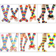 Arm Warmer Cosplay Rainbow High-Socks Gloves Fingerless Stripes Womens Set Dress Party-Costume