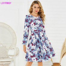 2019 autumn and winter new women's European and American printing round neck long sleeve fresh and sweet A word dress 2019 autumn and winter new european and american women s round neck long sleeved printed lace slim a line dress