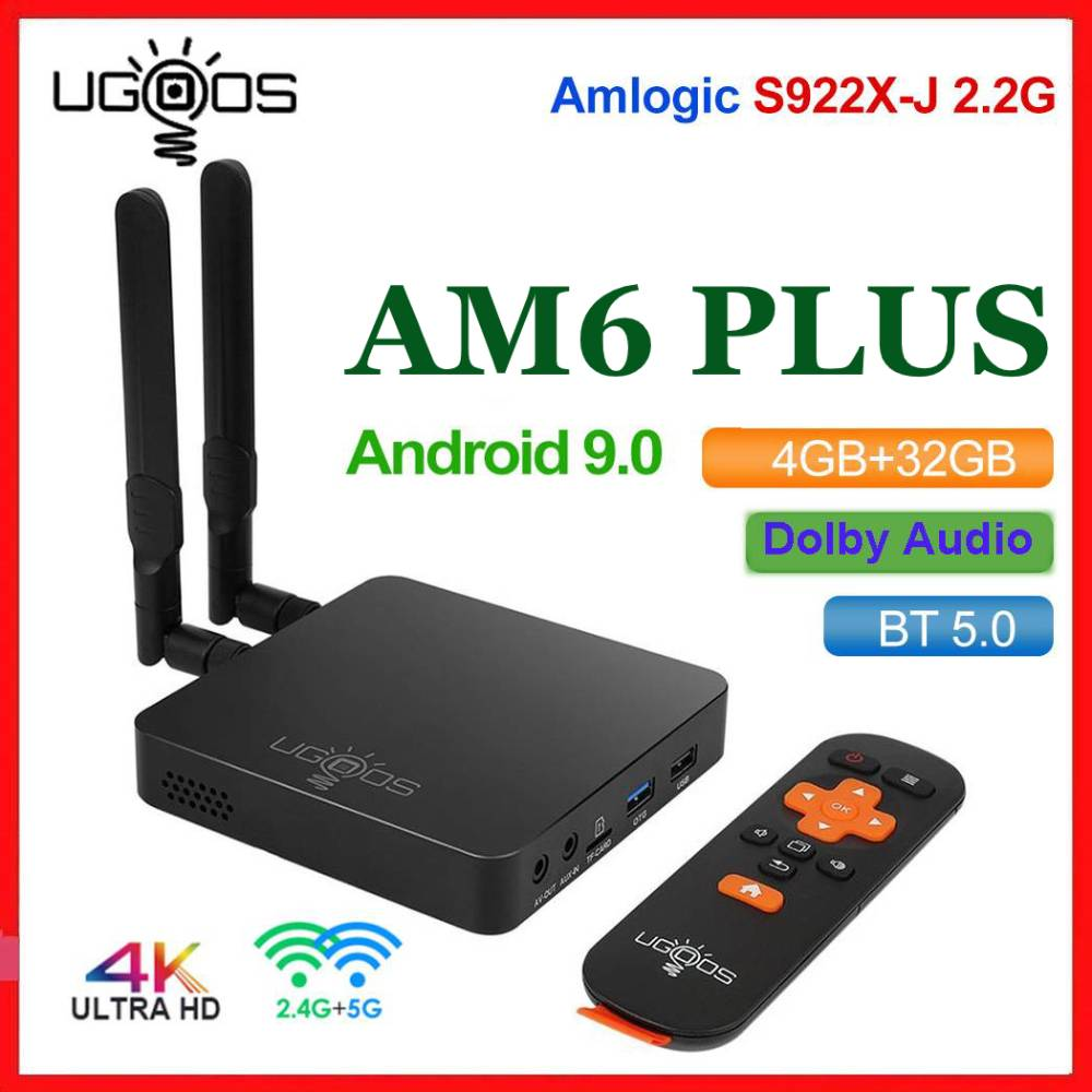 UGOOS AM6 Plus TV BOX Android 9.0 Amlogic S922X-J DDR4 4GB 32GB 5G WiFi 1000M BT5.0 OTT 4K AM6 Pro Media Player Dolby Atmos