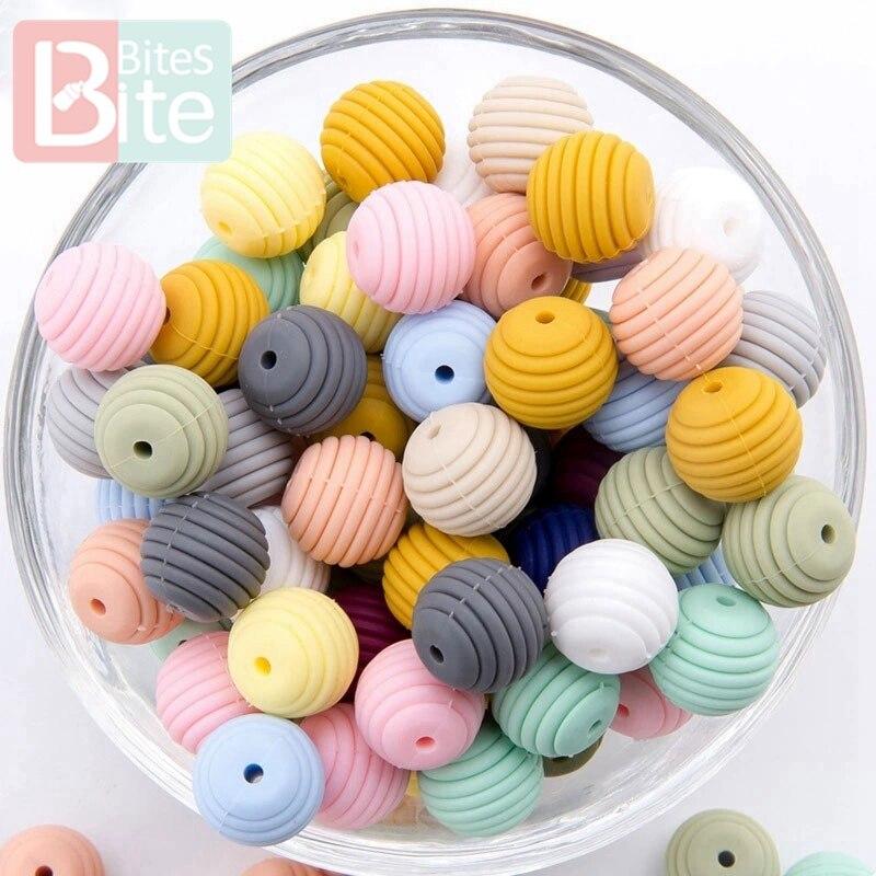 Lassen Sie Machen Silikon Perlen Beißringe 15mm 5 Stücke DIY Gewinde Silica Perlen BPA FREI 4-6 Monate Spirale Food Grade Silik