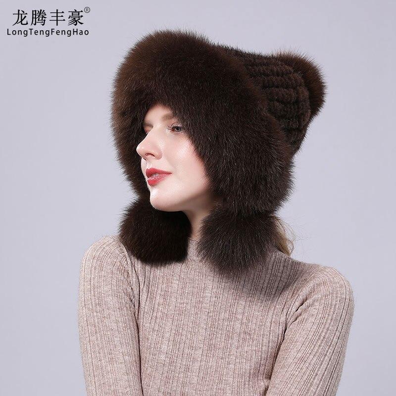 Real Mink Fur Hat With Fox Fur Ball Velvet Winter Earmuffs Protective Cap Knit For Women Russian Hat Fox Fur Hat  Pilot Hat