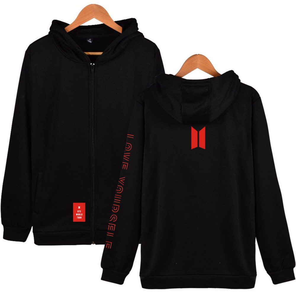 2019 Winter Kpop Korean Long Sleeve Thick Zipper Hoodie Women Sweatshirt Harajuku Casual Bangtan Boys Love Yourself Fans Clothes(China)