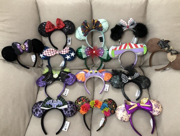 Minnie Mickey Mouse Sequin Purple Aulani Gold EARS COSTUME Headband Cosplay Plush Adult/Kids Headban