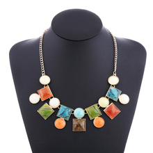 Colored Resin Autumn Necklace European and American Exaggerated Jewelry Accessories New Products Bubble Beads