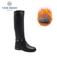 VAIR MUDO 2020 Warm Boots WomenWinter Shoes Genuine Leather Fashion Low Heel Women Boots Zipper Knee High Ladies Shoes ZT59