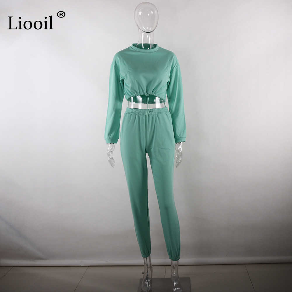 Liooil комплект из 2 предметов для активного отдыха, женский спортивный костюм, Осень-зима 2019, толстовка с длинным рукавом, спортивные штаны, штаны-шаровары, повседневные штаны для бега