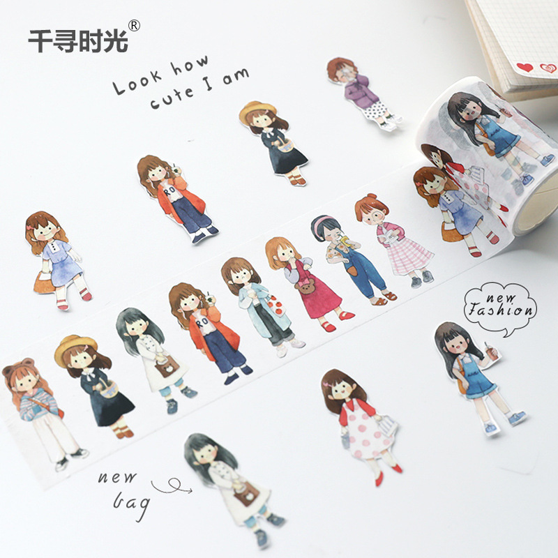 1set/1lot Washi Masking Tapes Character Dress Up Cute Girl Decorative Adhesive Scrapbooking DIY Paper Japanese Stickers 3M