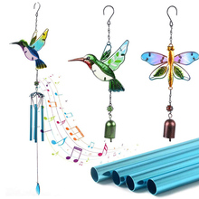 Garden for Outdoor Decorations PS Hanging-Ornament Glass Wind-Chime Stained Metal Hummingbird/dragonfly