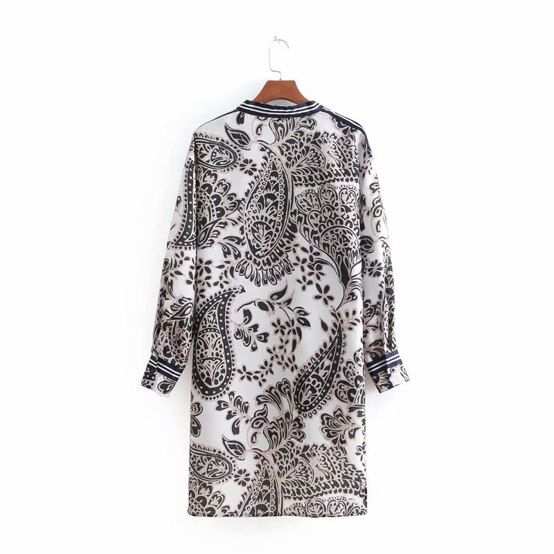 19 Spring New Style Paisley Thread Printed Front Short Long Back Long Sweater Shirt + Side Edge Strap Loose Pants
