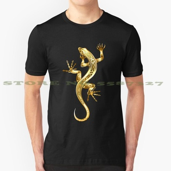 Golden Patterned Lizard Cool Design Trendy T-Shirt Tee Gold Lizard Lizard Reptile Animal Scaly Regeneration Shiny Paw Tail image