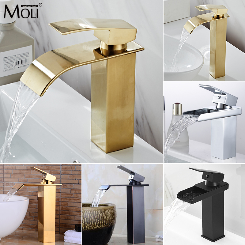 Basin Faucets Waterfall Luxury Waterfall Gold Bathroom Sink Faucet Basin Mixer Tap Hot and Cold Water Bath Mixer Tap MLFCT007