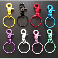 100pcs/Lot Colorized DOG CLIPS Candy Color Hooks Swivel Hook Keyring Keychains Key Ring