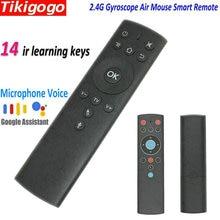 Tikigogo T1M 자이로 스코프 에어 마우스 14 IR 학습 마이크 구글 음성 검색 안드로이드 스마트 TV 박스 PK G10 G20 s 원격 제어