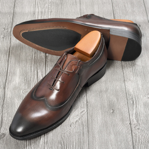Image 5 - Mens Oxford elbise deri ayakkabı kahve rengi İtalyan tarzı yenilik ofis resmi rahat kap ayak ayakkabı özel dantel Up