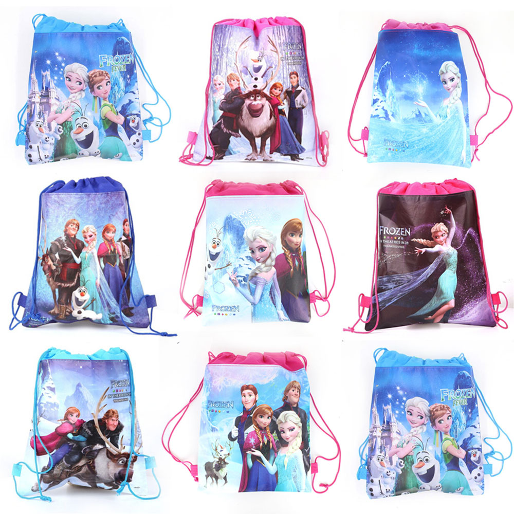 6/12/24/30PCS Disney Princess Birthday Decorations Theme Party Bags For Kids Birthdays Non-Woven Fabric Drawstring Kid Gift Bags title=