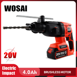 WOSAI 20V Electric Impact Drill Rotary Hammer Brushless Motor Cordless Hammer Electric Drill Electric Pick for Switch Freely