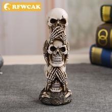 Прямая поставка, миниатюрная статуя черепа из смолы, скульптура на Хэллоуин, винтажное украшение для дома, аксессуары, Современное украшение, статуэтки, ремесла
