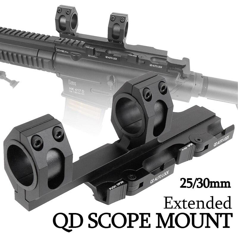 25mm 30mm étendu QD Auto Lock Airgun portée de fusil Bases de montage tactique Airsoft 20mm Weaver Picatinny Rail accessoires de chasse