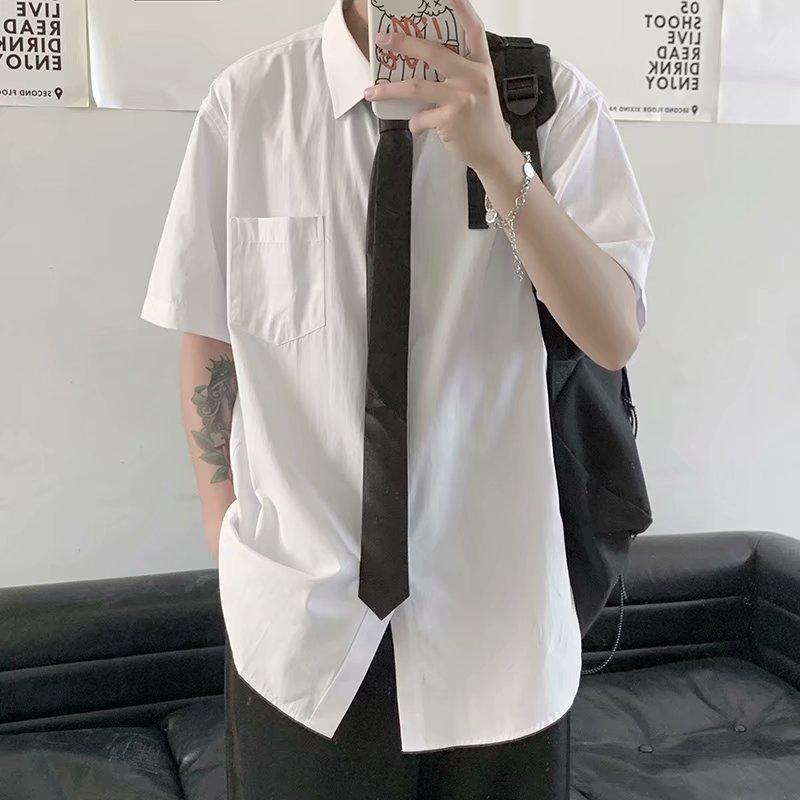 Preppy Style Tie Shirt White for Men Short Sleeve Shirt Fashion Brand Ins  Student Class Clothes DK Uniform BF Shirt