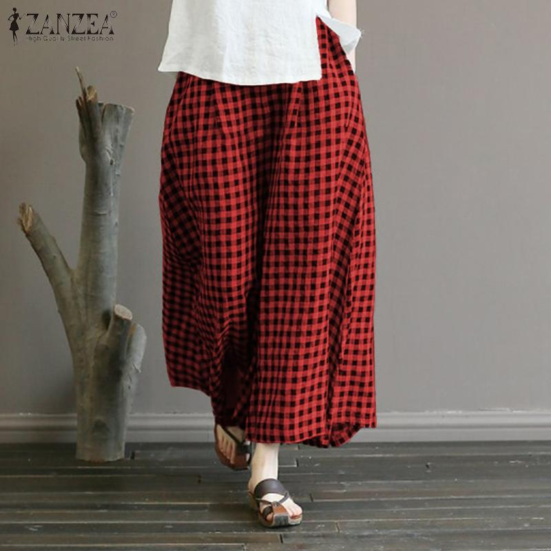 ZANZEA Summer   Wide     Leg     Pants   Stylish Women Elastic Waist Loose Long Plaid Trousers Vintage Harem Pantalon Baggy Flare Palazzo