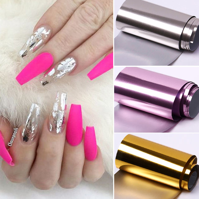 1PC Charm Mirror Nail Foils Polish Stickers Metal Color Starry Paper Transfer Foil Wraps Adhesive Decals Nail Art Decorations
